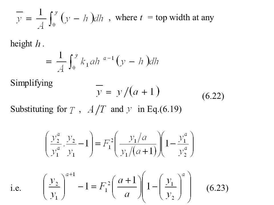 , where t = top width at any