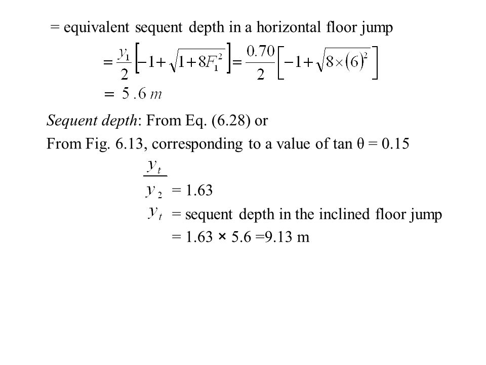 = equivalent sequent depth in a horizontal floor jump