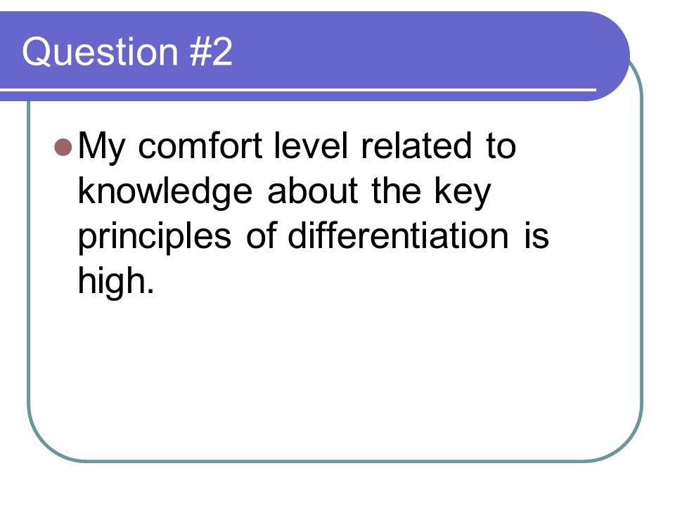 Question #2 My comfort level related to knowledge about the key principles of differentiation is high.