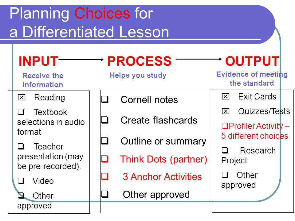 Planning Choices for a Differentiated Lesson