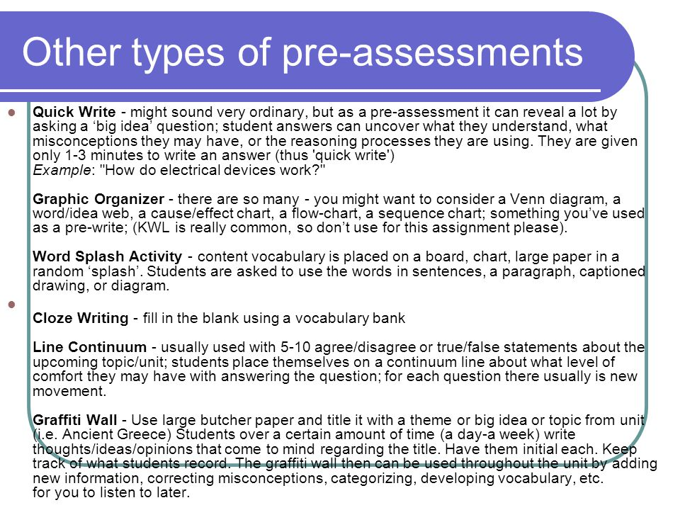 Other types of pre-assessments