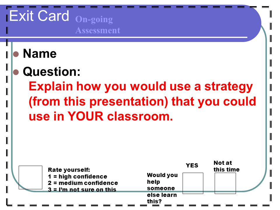 Exit Card Name Question: