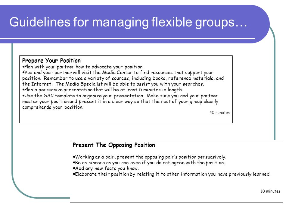 Guidelines for managing flexible groups…