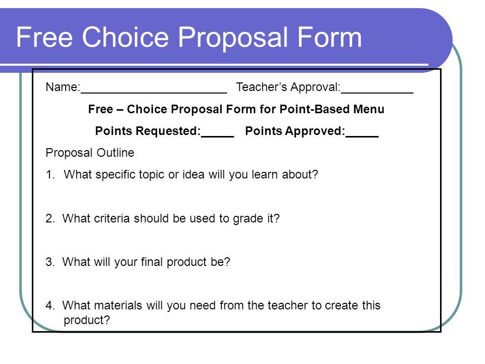 Free Choice Proposal Form