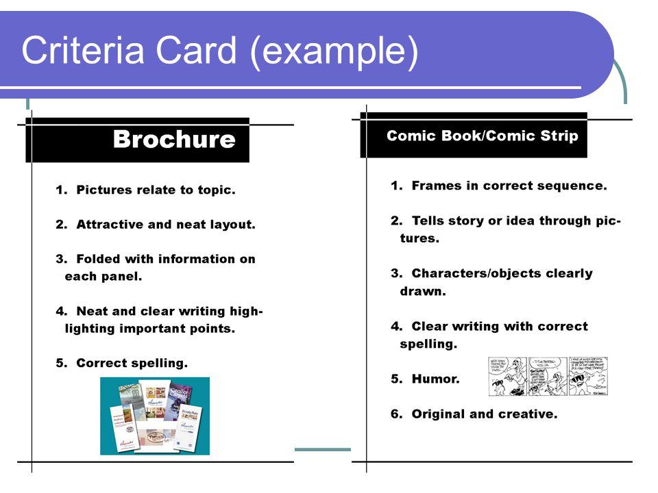 Criteria Card (example)