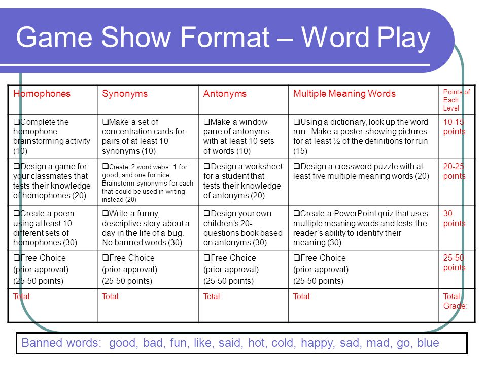 Game Show Format – Word Play
