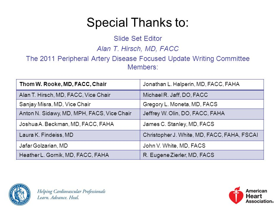 Special Thanks to: Slide Set Editor Alan T. Hirsch, MD, FACC