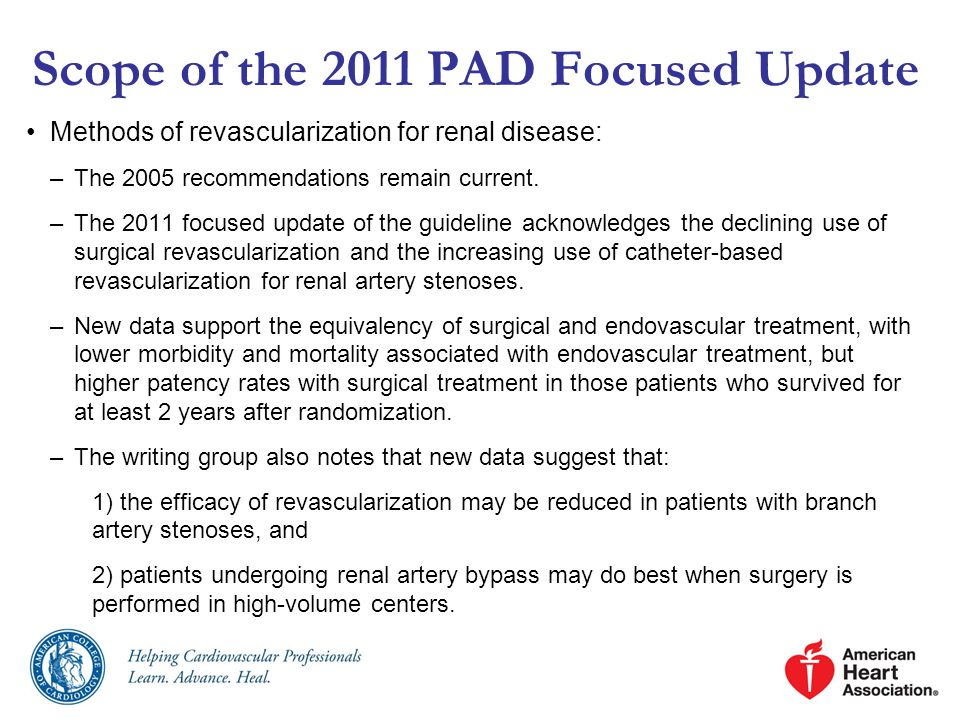 Scope of the 2011 PAD Focused Update