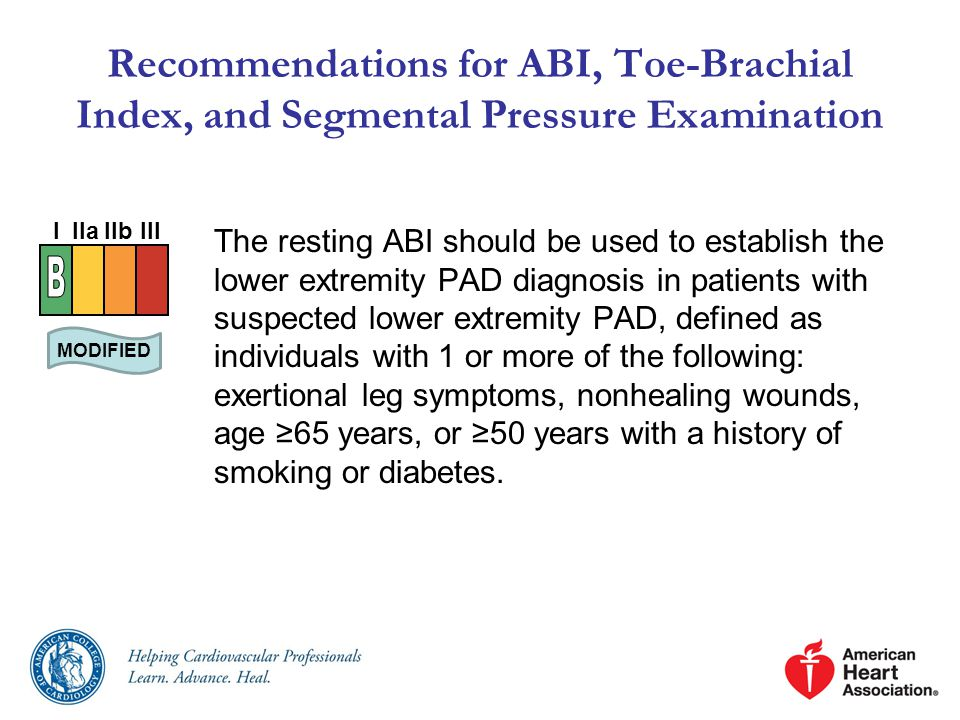 Recommendations for ABI, Toe-Brachial Index, and Segmental Pressure Examination
