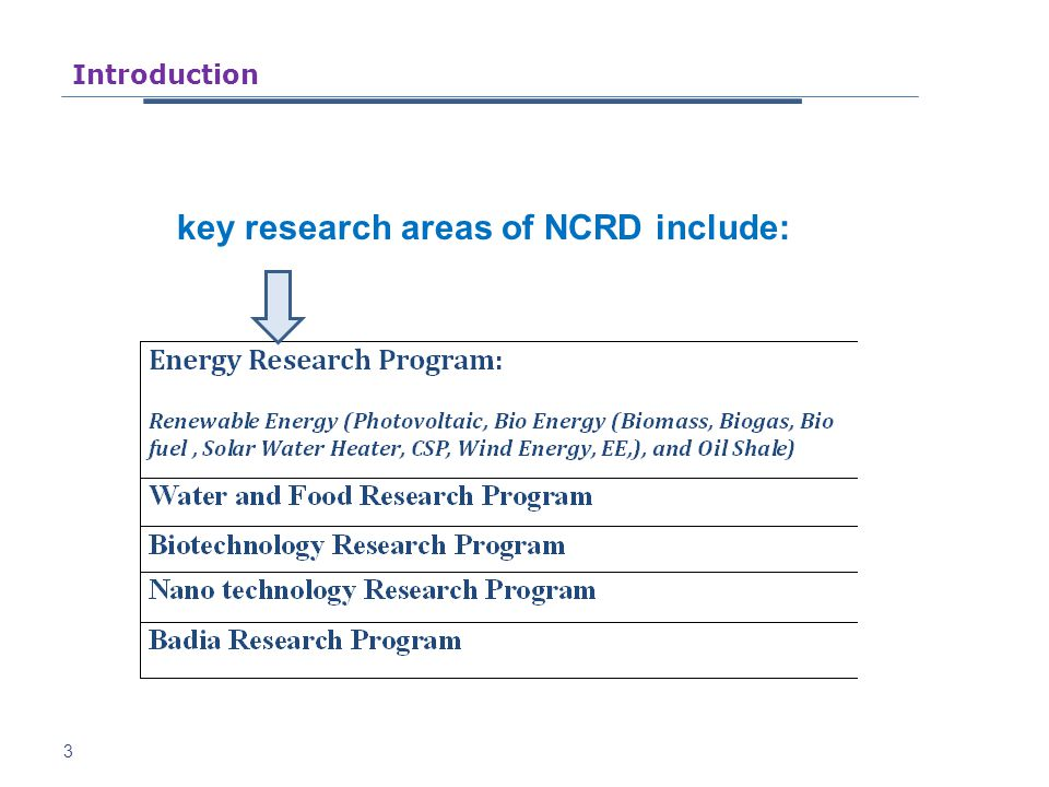 key research areas of NCRD include: