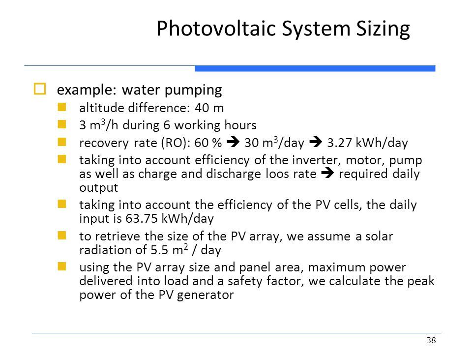 Photovoltaic System Sizing