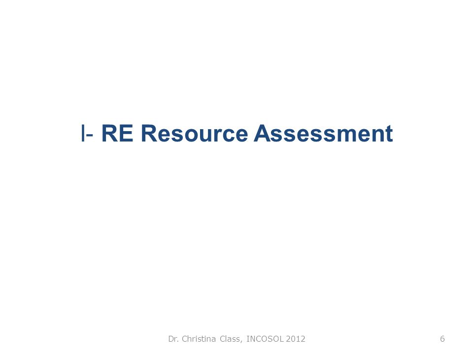 I- RE Resource Assessment