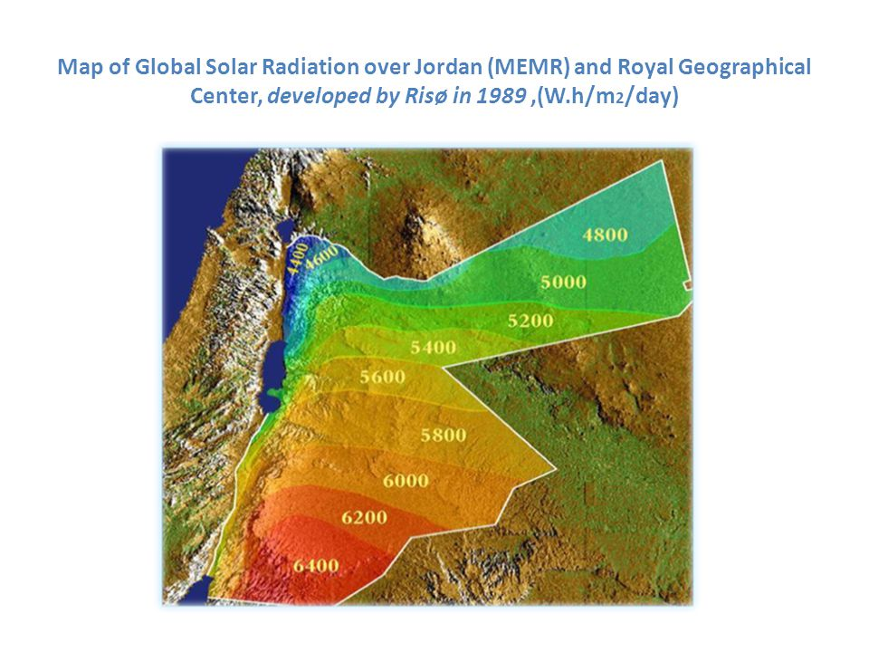 Map of Global Solar Radiation over Jordan (MEMR) and Royal Geographical Center, developed by Risø in 1989 ,(W.h/m2/day)
