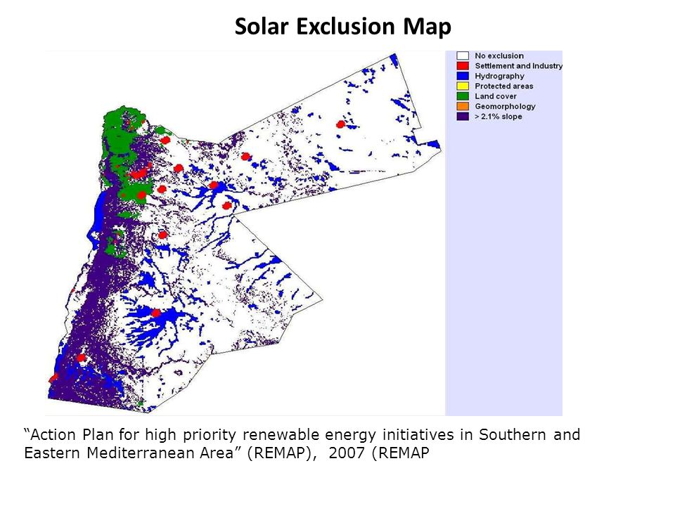 Solar Exclusion Map Action Plan for high priority renewable energy initiatives in Southern and Eastern Mediterranean Area (REMAP), 2007 (REMAP.
