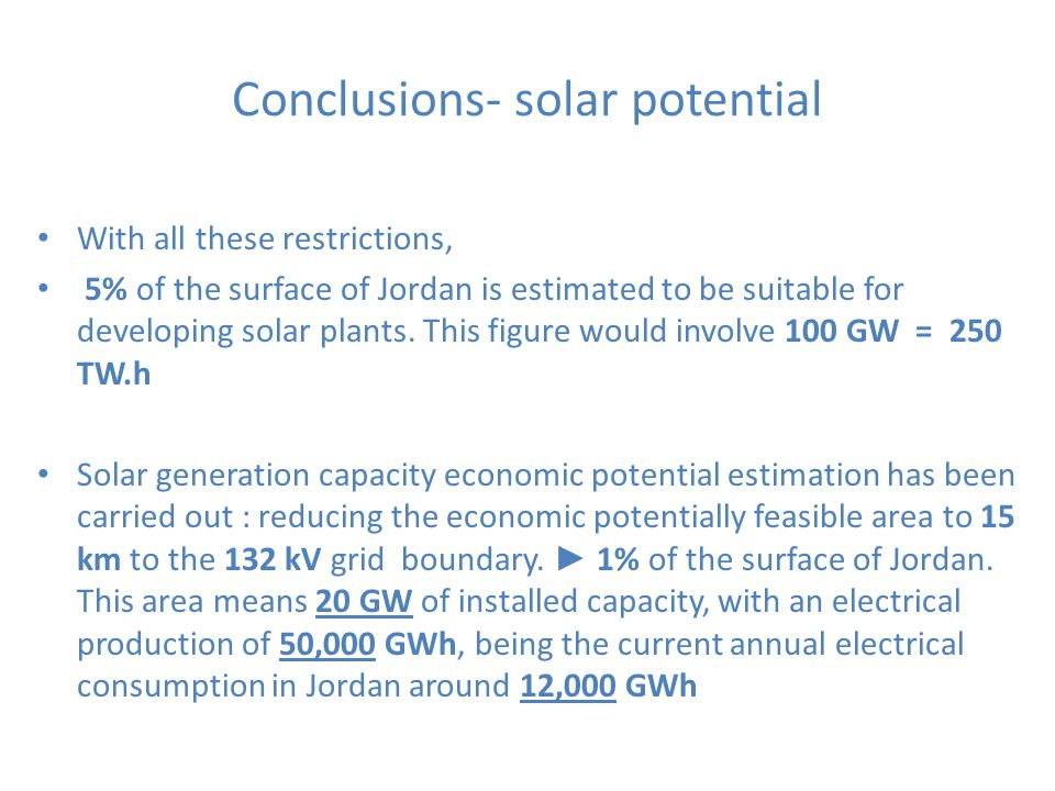 Conclusions- solar potential