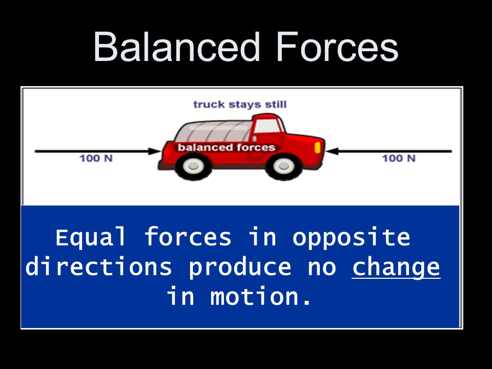 Equal forces in opposite directions produce no change