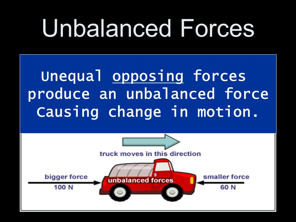 Unbalanced Forces Unequal opposing forces produce an unbalanced force