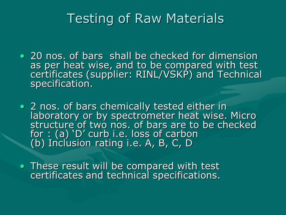 Testing of Raw Materials
