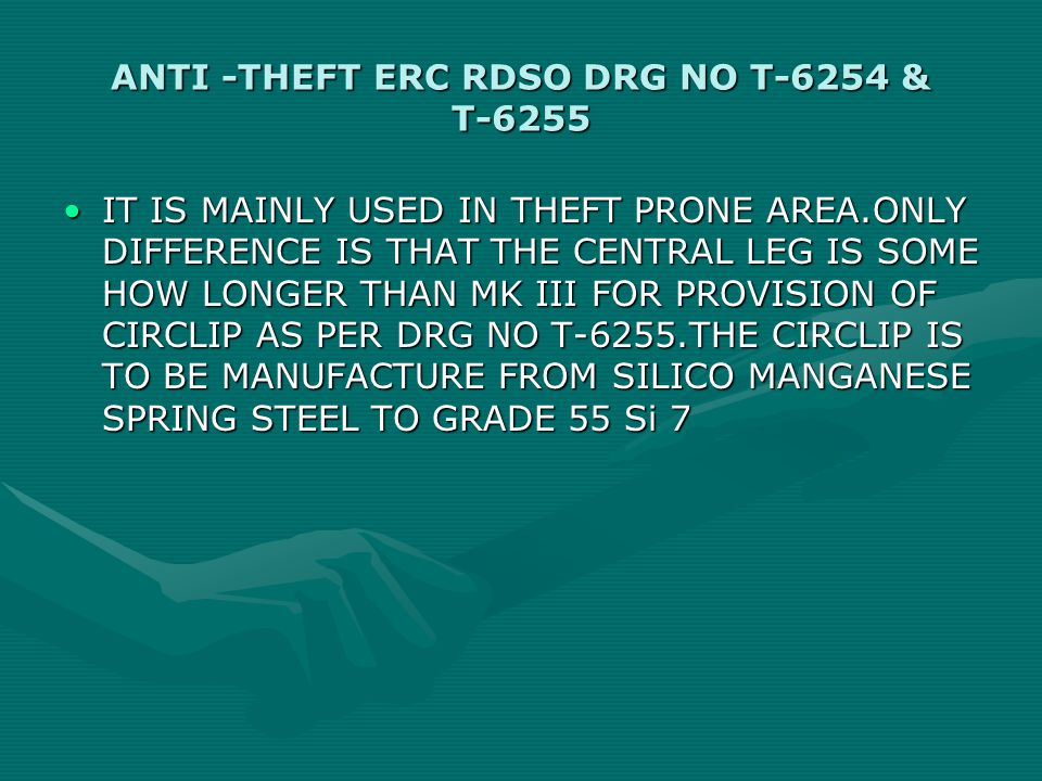ANTI -THEFT ERC RDSO DRG NO T-6254 & T-6255