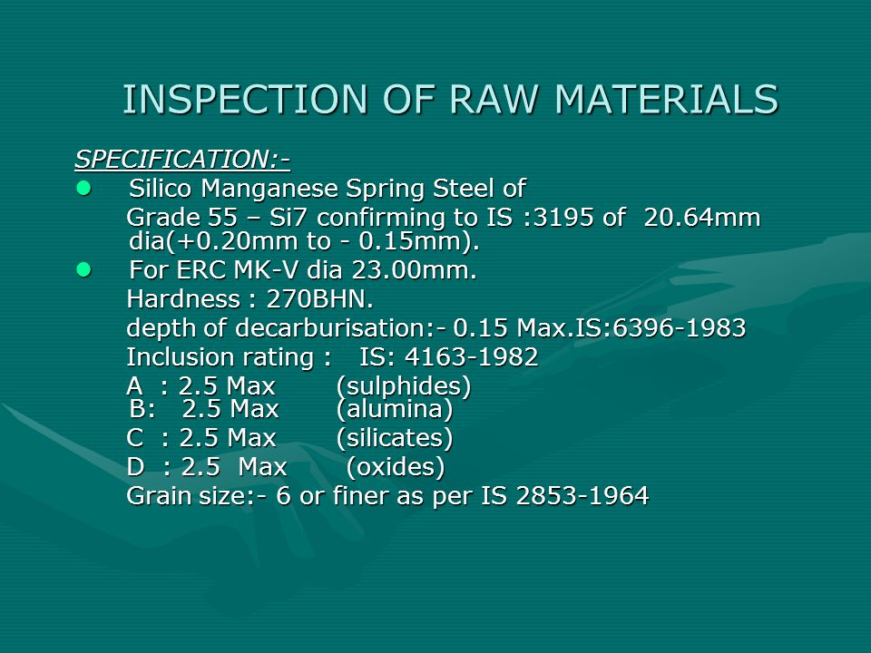 INSPECTION OF RAW MATERIALS
