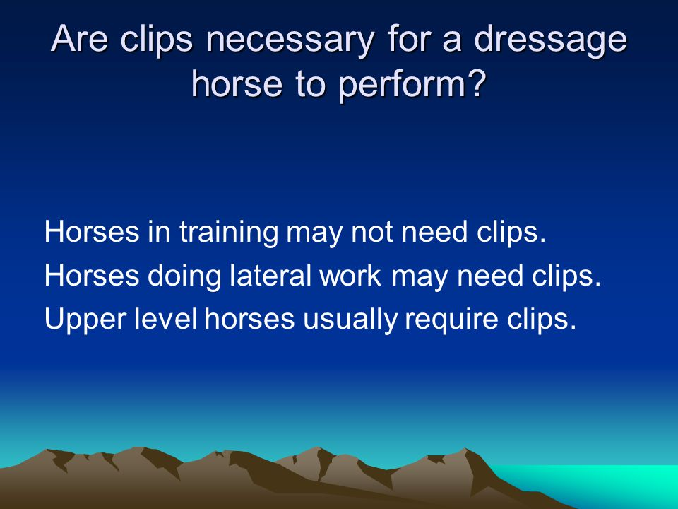 Are clips necessary for a dressage horse to perform