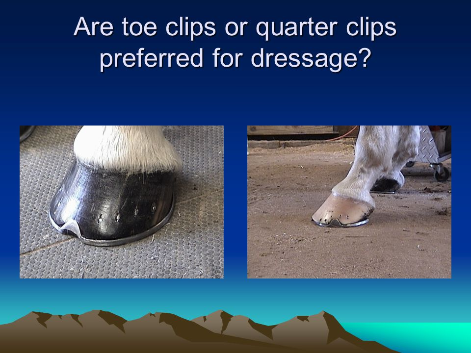 Are toe clips or quarter clips preferred for dressage