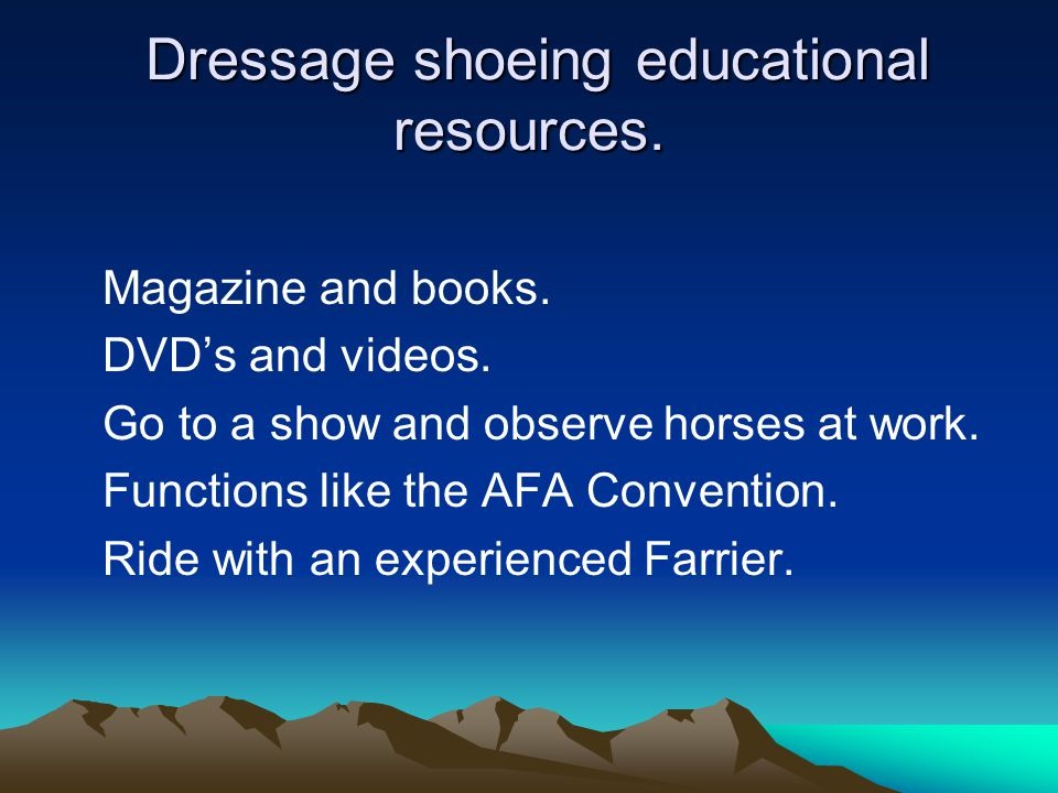 Dressage shoeing educational resources.