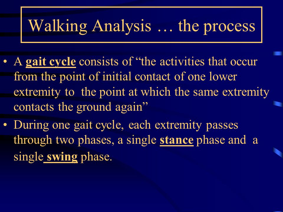 Walking Analysis … the process