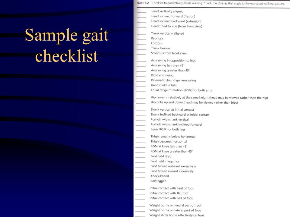 Sample gait checklist