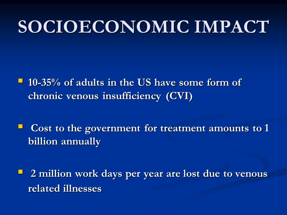 SOCIOECONOMIC IMPACT 10-35% of adults in the US have some form of chronic venous insufficiency (CVI)