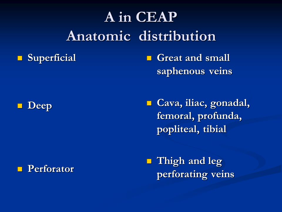 A in CEAP Anatomic distribution