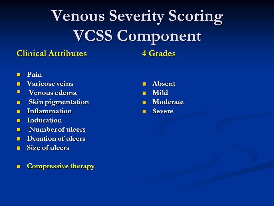 Venous Severity Scoring VCSS Component