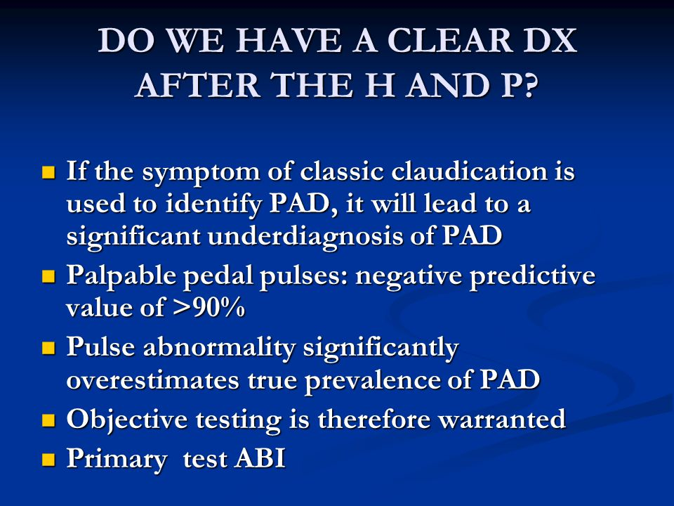 DO WE HAVE A CLEAR DX AFTER THE H AND P