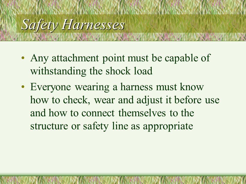Safety Harnesses Any attachment point must be capable of withstanding the shock load.
