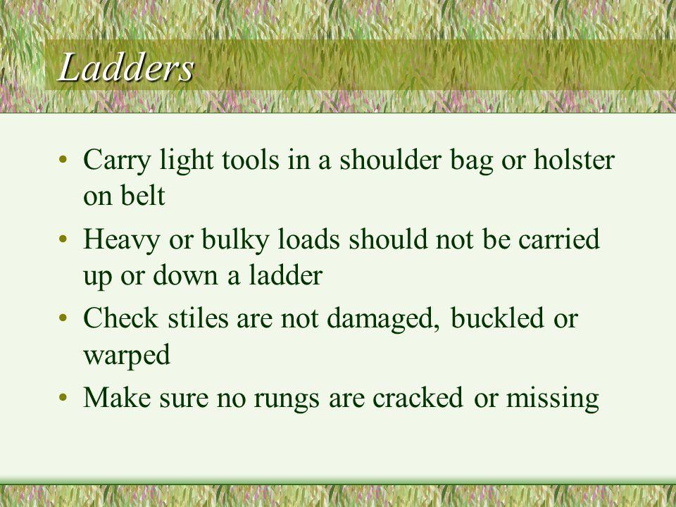 Ladders Carry light tools in a shoulder bag or holster on belt