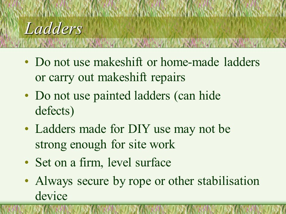 Ladders Do not use makeshift or home-made ladders or carry out makeshift repairs. Do not use painted ladders (can hide defects)