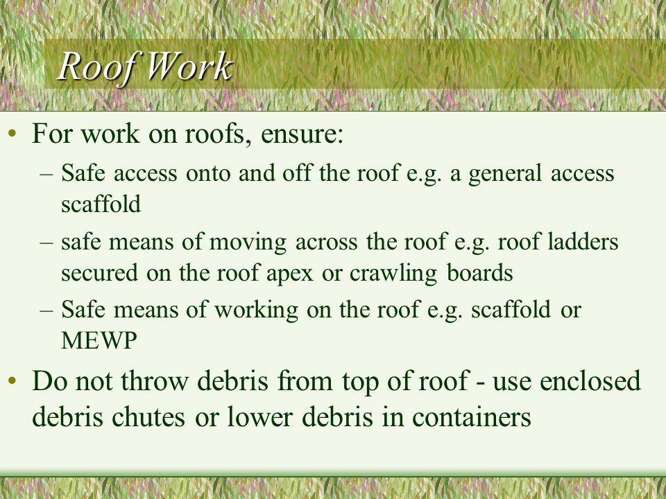 Roof Work For work on roofs, ensure: