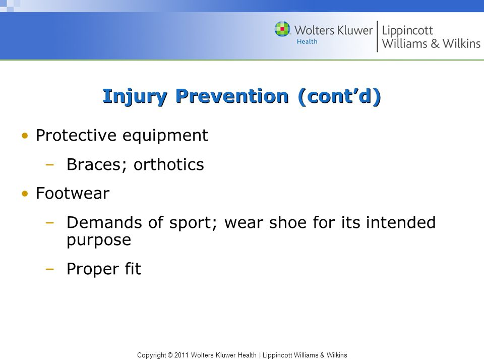 Injury Prevention (cont'd)