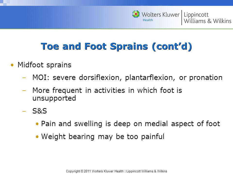 Toe and Foot Sprains (cont'd)