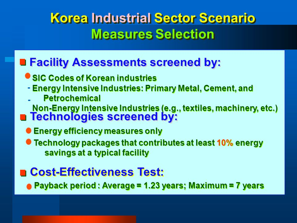 Korea Industrial Sector Scenario Measures Selection