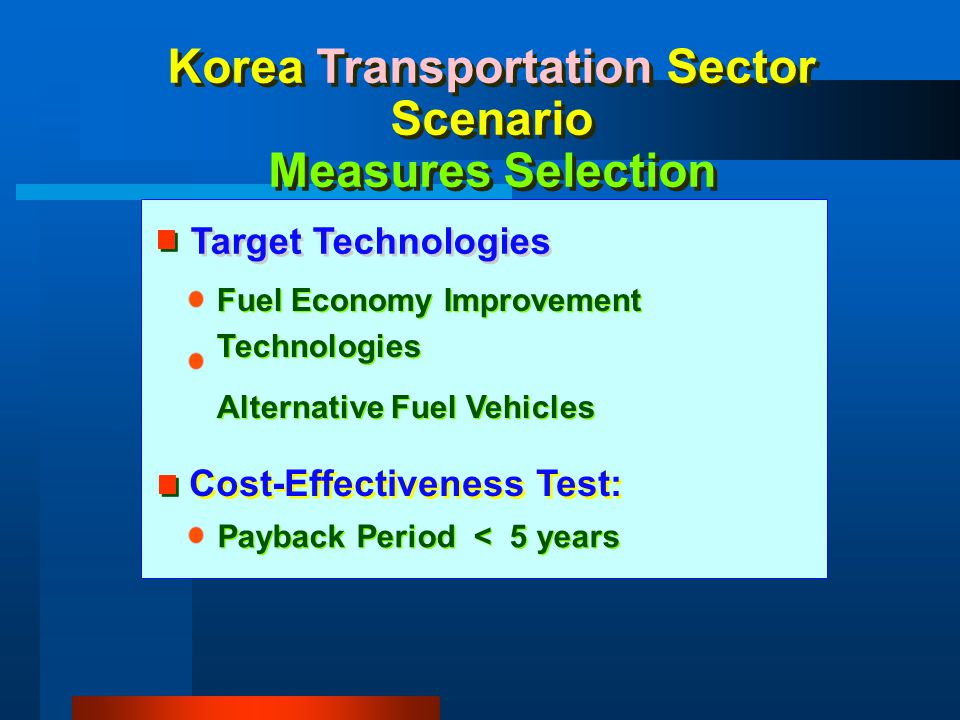 Korea Transportation Sector Scenario Measures Selection