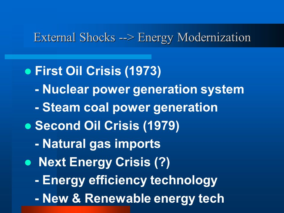 External Shocks --> Energy Modernization