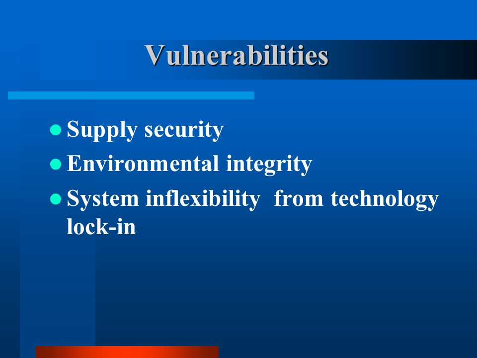Vulnerabilities Supply security Environmental integrity