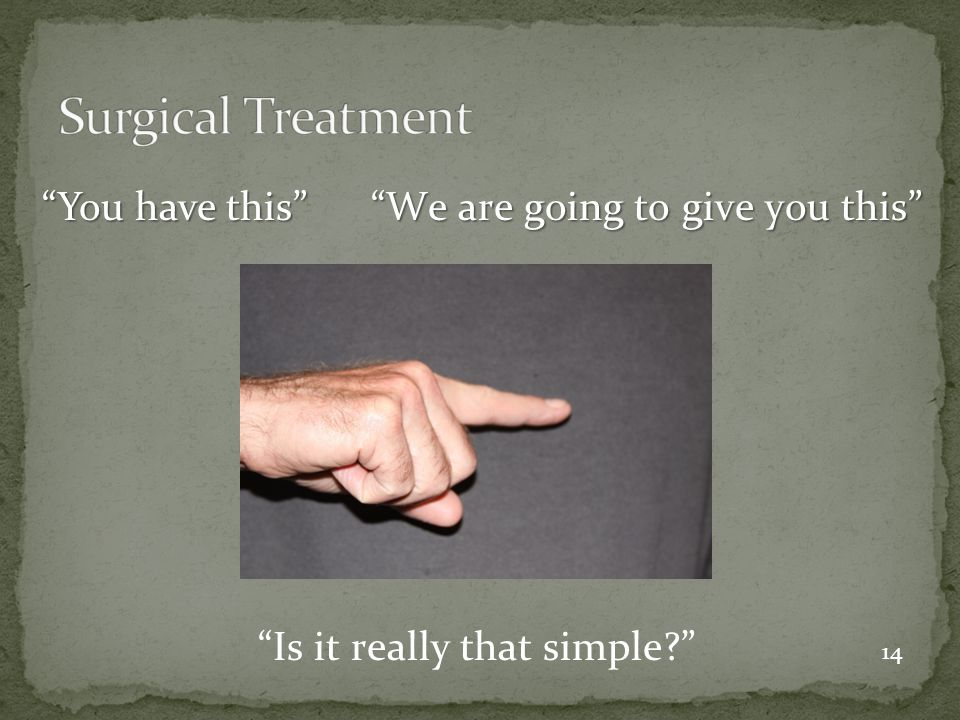 Surgical Treatment You have this We are going to give you this