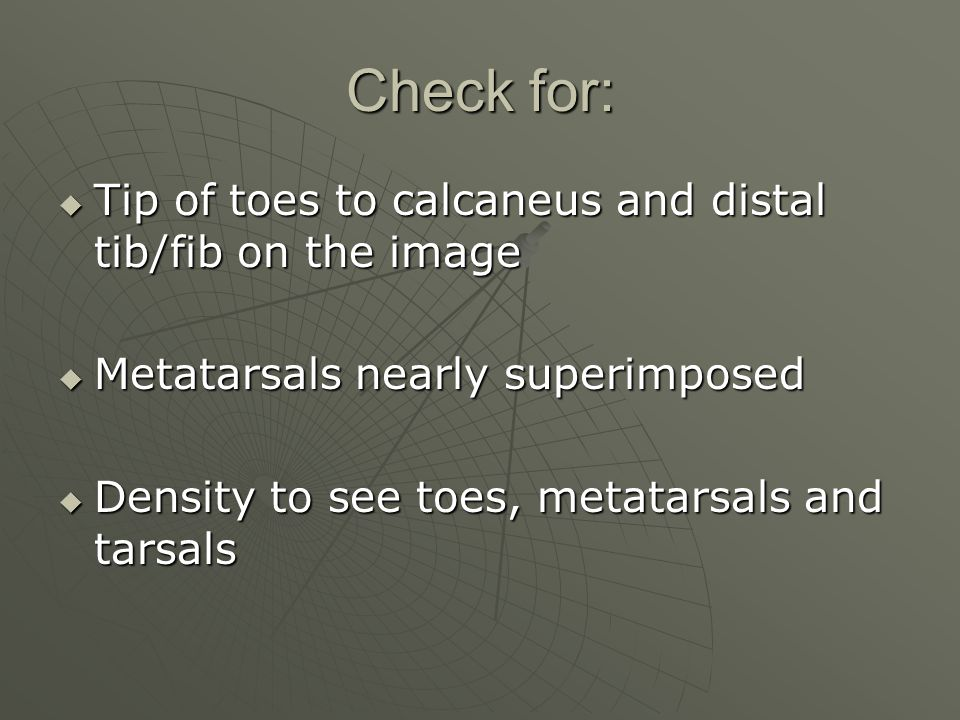 Check for: Tip of toes to calcaneus and distal tib/fib on the image