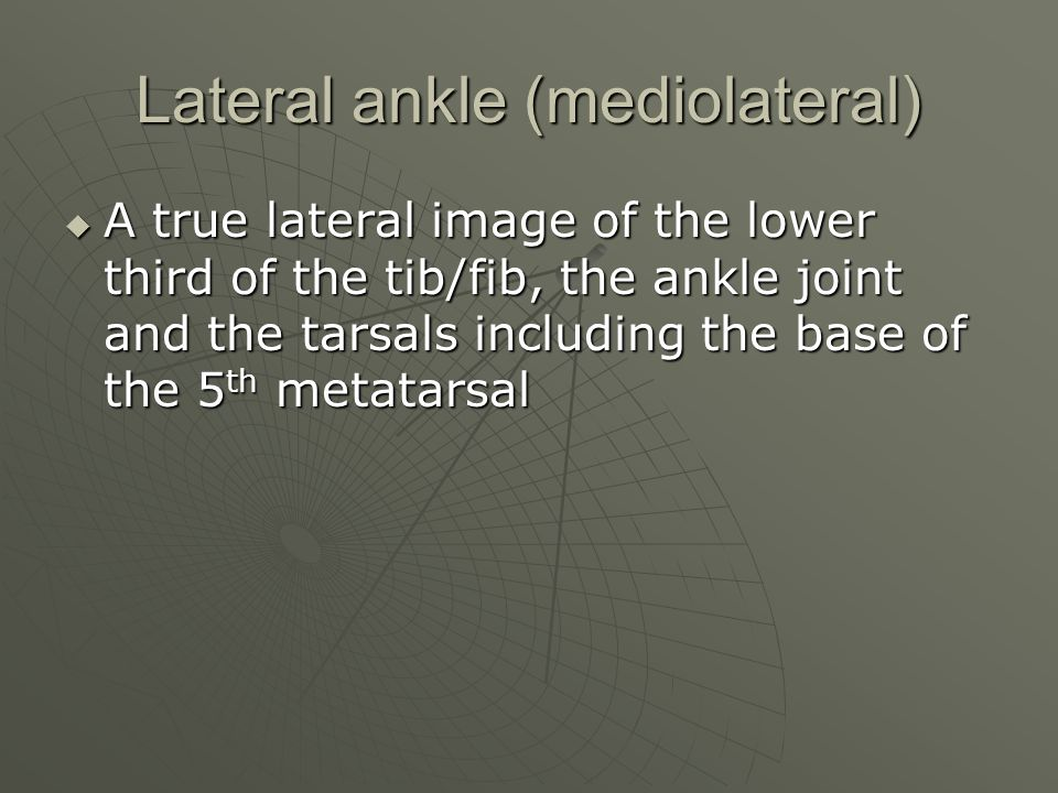 Lateral ankle (mediolateral)