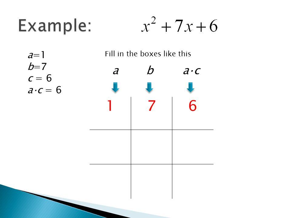 Example: 1 7 6 a b a⋅c a=1 b=7 c = 6 a⋅c = 6