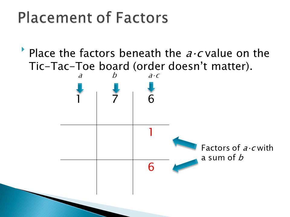 Placement of Factors Place the factors beneath the a⋅c value on the Tic-Tac-Toe board (order doesn't matter).