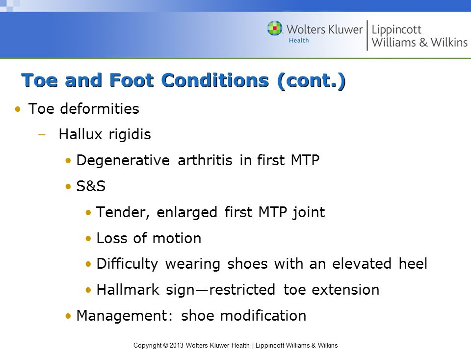 Toe and Foot Conditions (cont.)