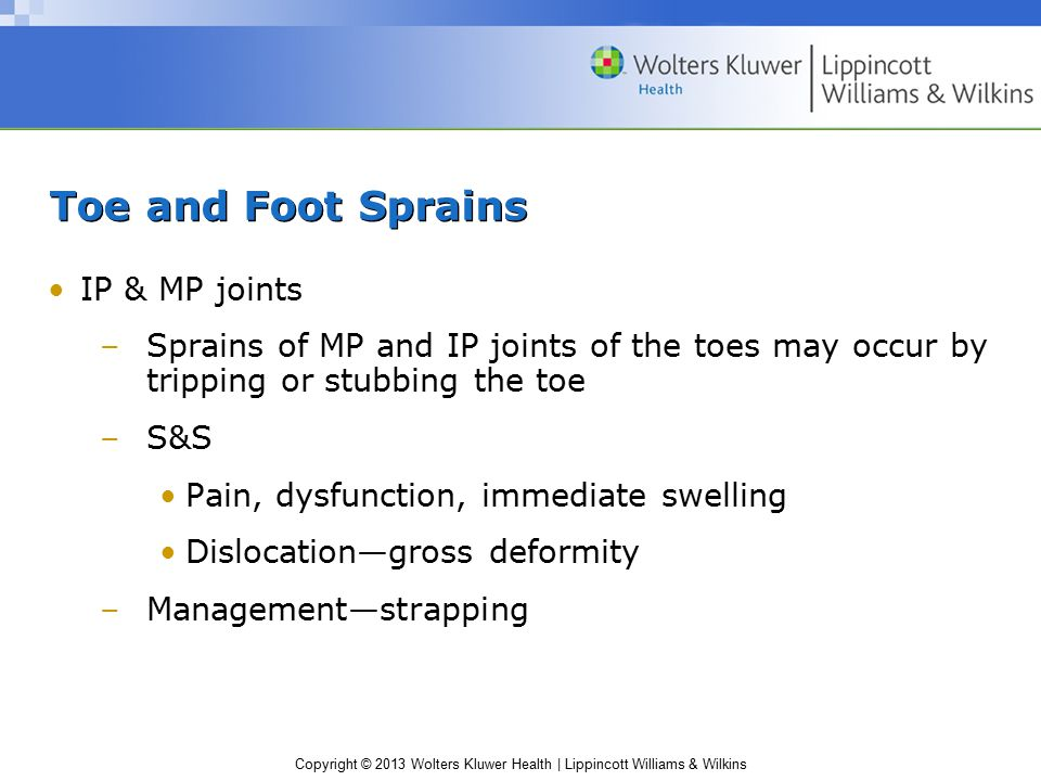 Toe and Foot Sprains IP & MP joints